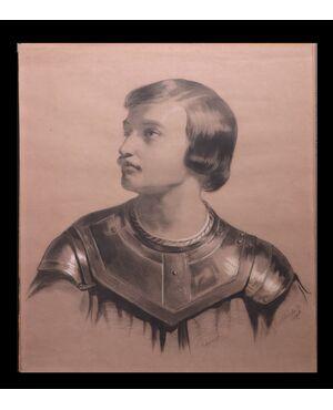 """Disegno a Carboncino: """"Ritratto virile"""" firmato Mucchi G."""