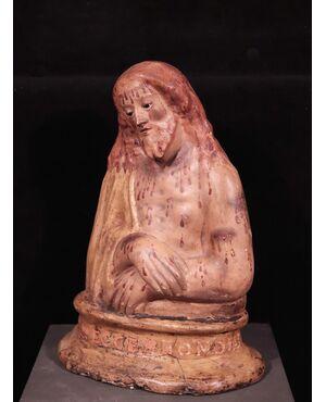 """Scultura in cartapesta policroma """"Ecce Homo"""", Toscana, '700"""