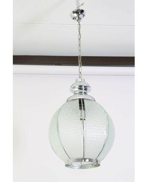 Lanterna in vetro Satinato  e acciaio modernariato 1950 . Lampadario Chandelier . ok impianto vintage