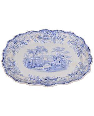 piatto inglese bianco/blu da parete o centrotavola - O/3292