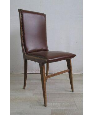 Sedia vintage anni 50-60 in faggio con seduta schienale eco pelle - modernariato