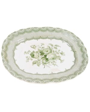 piatto inglese bianco/verde da parete o centrotavola - O/3293
