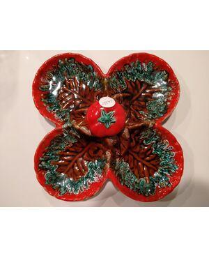 Antico piatto antipastiera francese in ceramica di colore rosso