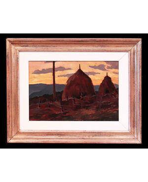 """Dipinto ad olio: """"Paesaggio con pagliai"""" - scuola Toscana '900"""