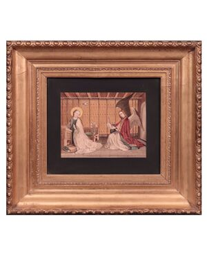 """Dipinto firmato De Salvo, """"Annunciazione"""", '900"""
