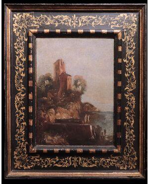 """Dipinto ad olio: """"Paesaggio con case e personaggi"""", '700"""