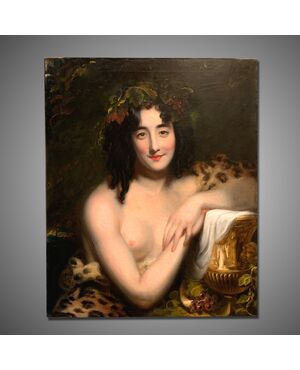 Antico dipinto giovane baccante epoca '800
