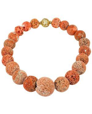 Importante collana in madrepora di corallo con fermaglio in oro - G/285