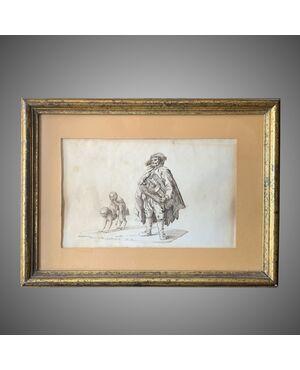 Antico disegno a china firmato e datato A.Marozzi