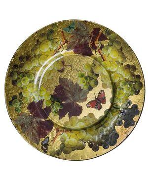 Grande piatto da parete decorato a découpage e foglia oro - O/5446