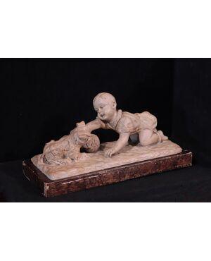 Scultura in terracotta - Bambino con cane