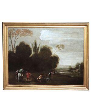 """Dipinto antico: """"Scena di Caccia"""", Roma, '700"""