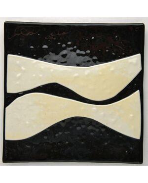 Set di tre piatti quadrati in vetro bianco e nero - O/6367