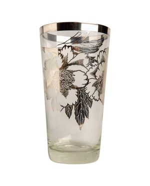 "Vaso americano ""overlay"" in vetro ed argento - O/2055"