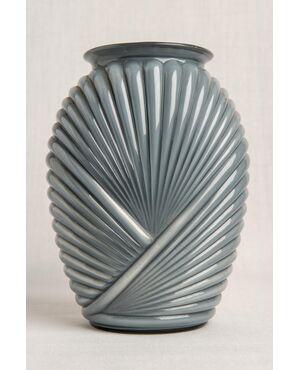 Vaso in vetro grigio Déco - O/4794