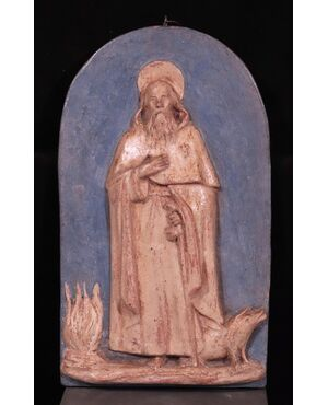 Altorilievo in terracotta:  S.Antonio Abate, Inizi '800