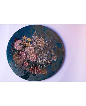 Grande piatto in ceramica iridata Pietro Melandri