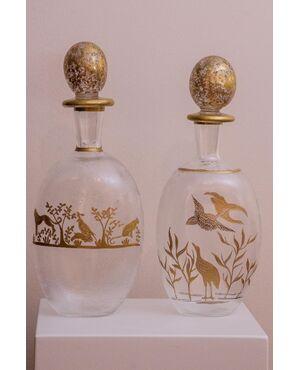 Coppia di bottiglie liberty francesi