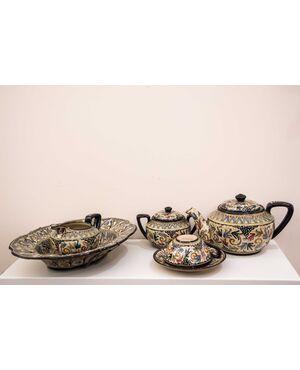 Servizio da the in ceramica decorata a mano FRANCESCO MOLARONI