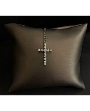 Croce  in  oro  bianco  con  Diamanti  0.50  ct.