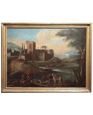 Dipinto ad olio: Paesaggio con figure, sec. XVIII
