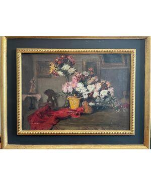 Dipinto ad olio salotto con fiori biedermaier