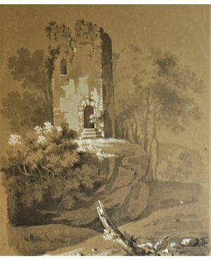 Disegno tecnica mista | Paesaggio con torre