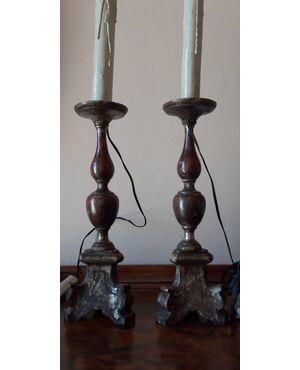 Coppia di candelieri del 700 alti 45 cm