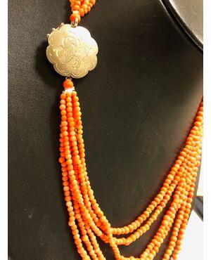Collana 6 fili di corallo Sciacca siciliano a forma di palline