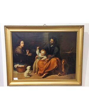 Dipinto antico olio su tela raff. Scena Familiare scuola spagnola metà XIX Sec.