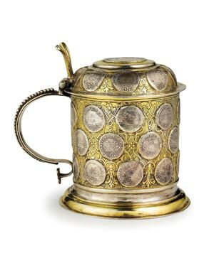 Tankard dorato con 38 talleri d'argento ducato Sassonia (VENDUTO)