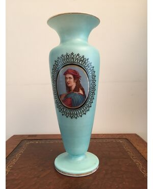 Vaso vetro opalino dipinto