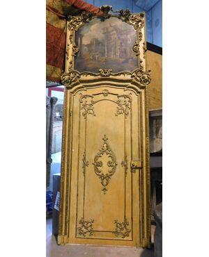 ptl492 - porta laccata e dorata, cm l 140 x h 388