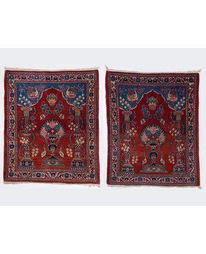 coppia antichi tappeti scendiletto KASHAN - n.145-146