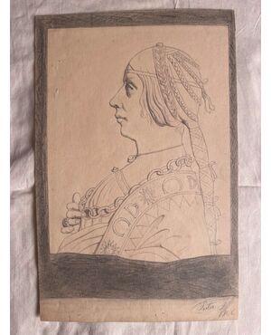 Disegno a matita su carta con profilo di donna rinascimentale.Firma F.Pietra 1906.