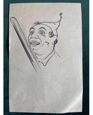 Disegno a matita su carta,personaggio con bastone.