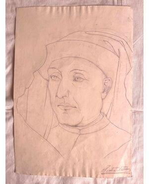Disegno a matita su carta, volto di giovane rinascimentale.Arturo Pietra.Bologna.