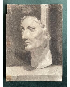 Disegno a matita,Firma Gualtiero Pontoni (1875-1941).Bologna.
