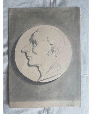 Disegno a matita su carta con profilo di figura maschile .Firma F.Pietra.