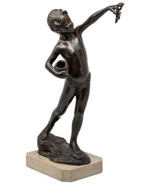 Bambino con anfora e granchio, scultura del XIX secolo