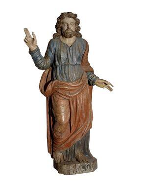Gesù benedicente in legno policromo, XVII secolo