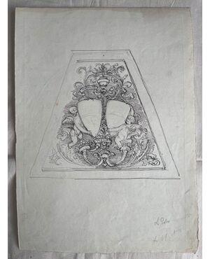 Disegno a matita e china su carta con bozzetto di stemma nobiliare.Arturo Pietra.