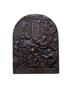Flagellazione, XVII secolo, lastra in rame sbalzato