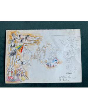 Disegno bozzetto a pastello su cartoncino con personaggi in spiaggia.Autore:Gabriel Paris (1924-2000).Francia