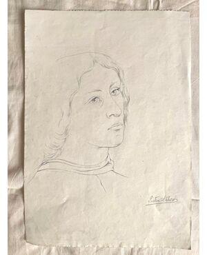 Disegno a matita su carta.Firma Arturo Pietra.