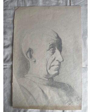 Disegno a matita su carta con profilo maschile.Firma F.Pietra