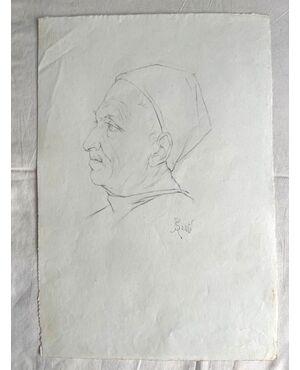 Disegno a matita su carta con profilo di figura maschile rinascimentale.Firma A.Santi.