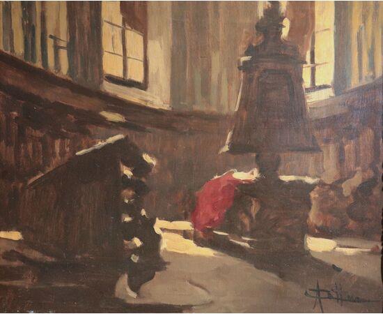 Cattaneo Achille (Milano 1872-1931) - Interno di chiesa